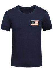 Chest Patriotic American Flag Panel Tee Shirt -