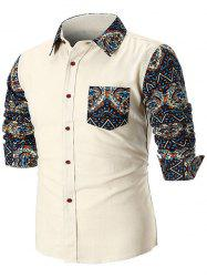 Contrast Trible Print Pocket Long Sleeve Casual Shirt -