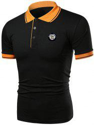 Contrast Color Applique Short Sleeve Polo T-shirt -