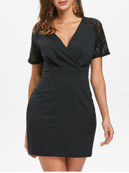 Lace Sleeve Mini Surplice Dress -