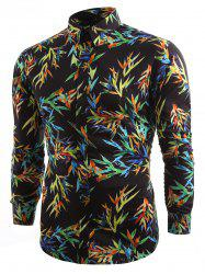 Casual Allover Colorful Bamboo Leaf Printed Shirt -