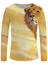 3D Sunset Lion Print Long Sleeve T-shirt -