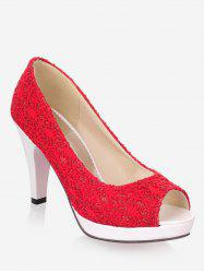 Plus Size High Heel Chic Peep Toe Prom Pumps -