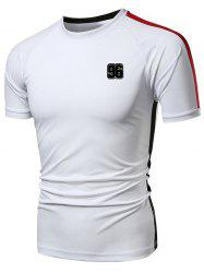 Quick Dry Stripe Panel Applique Sports T-shirt -