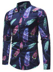 Feather Printed Button Up Shirt -