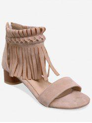 Plus Size Block Heel Fringes Decoration Ankle Sandals -