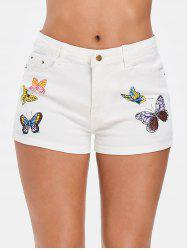 Butterfly Print Zipper Fly Denim Shorts -