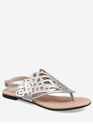 Plus Size Leisure Hollow Out Slingback Thong Sandals -
