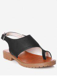 Plus Size Faux Leather Leisure Slingback Thong Sandals -