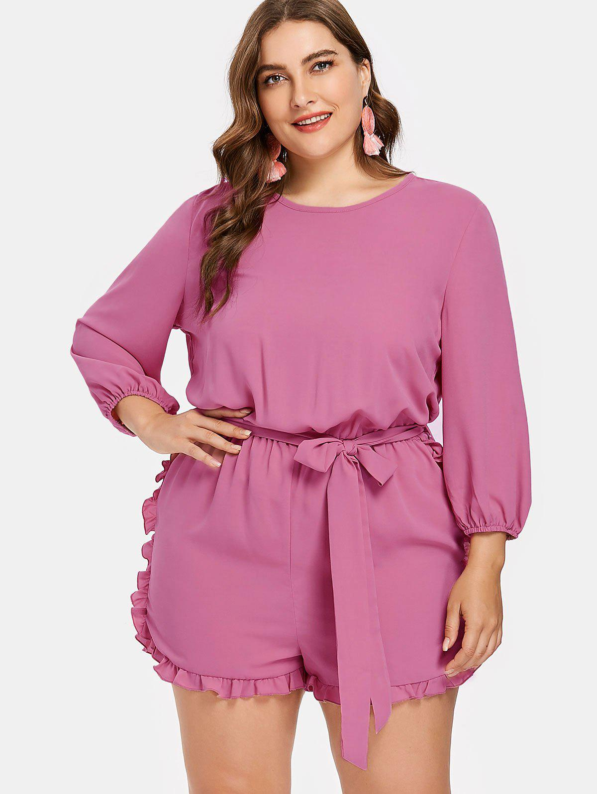 Shop Plus Size Frills Trim Romper