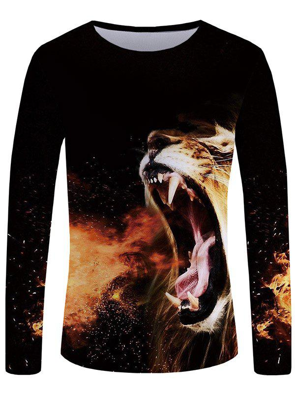 Outfit 3D Roaring Lion Print Round Neck T-shirt