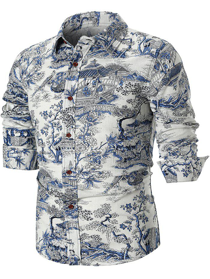 Outfit Chinese Style Architecture and Flowers Print Long Sleeve Shirt