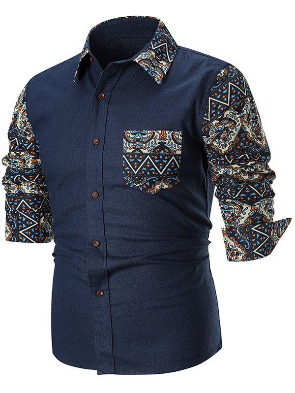 Shops Contrast Trible Print Pocket Long Sleeve Casual Shirt