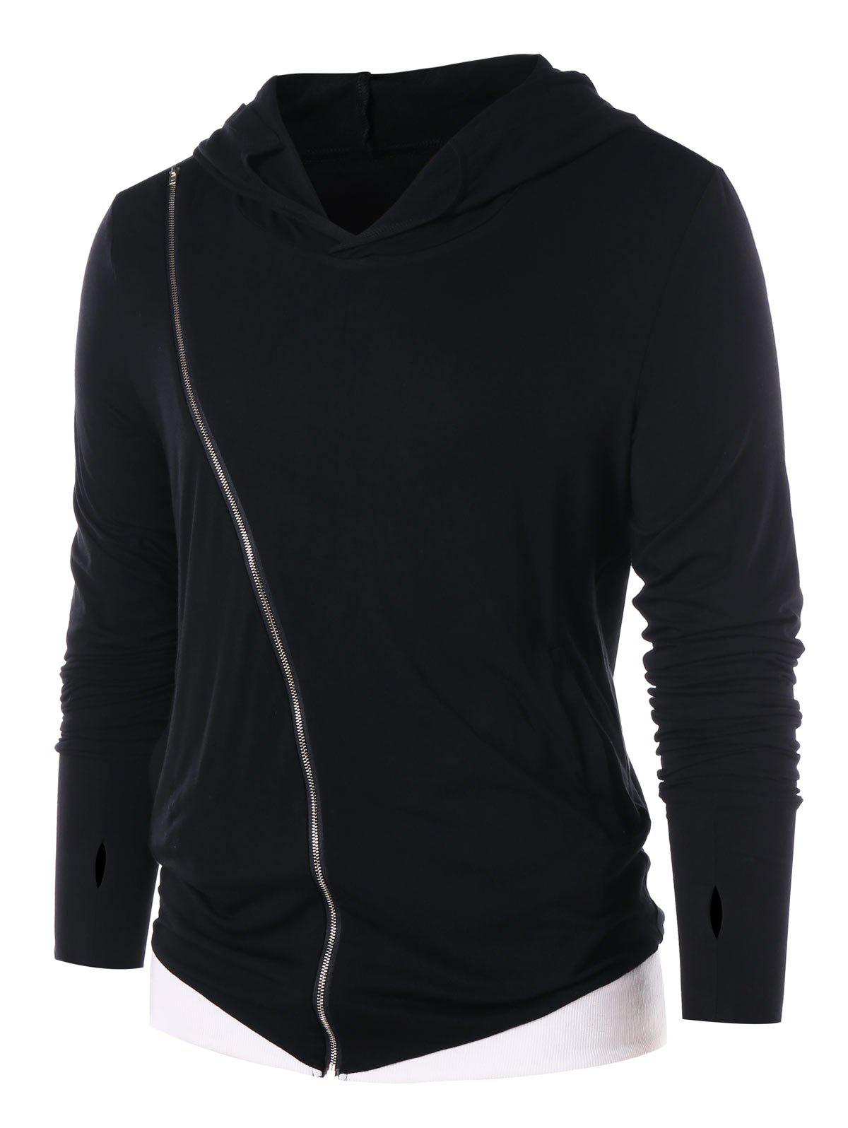Discount Panel Zip Embellished Long Sleeve Hoodie
