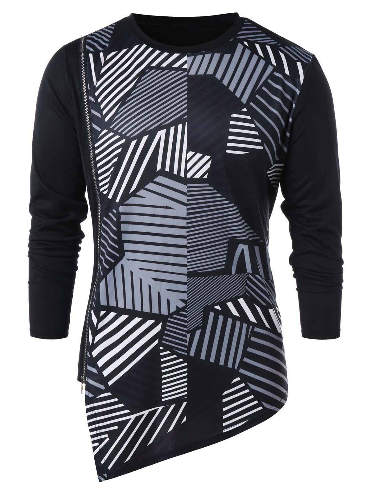 Best Asymmetric Geometric Print Zipper Embellished T-shirt