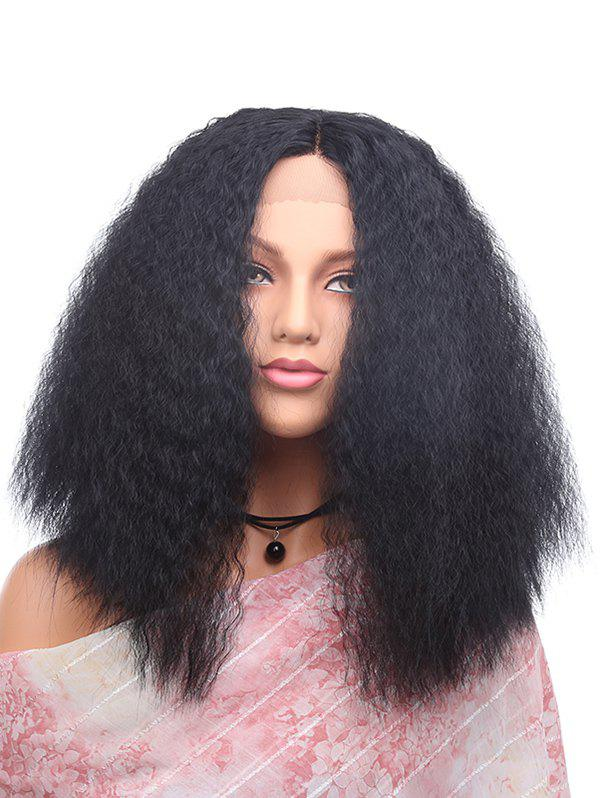 Sale Medium Center Parting Corn Hot Curly Synthetic Lace Front Wig
