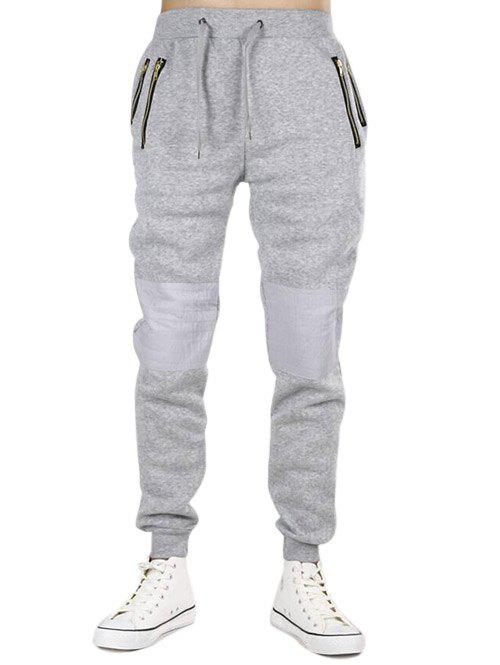Online Zipper Pockets Panel Narrow Feet Jogger Pants