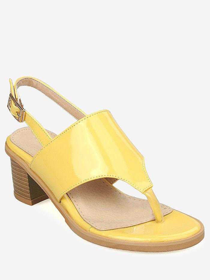2019 Plus Size Leisure Chunky Heel Buckled Thong Sandals