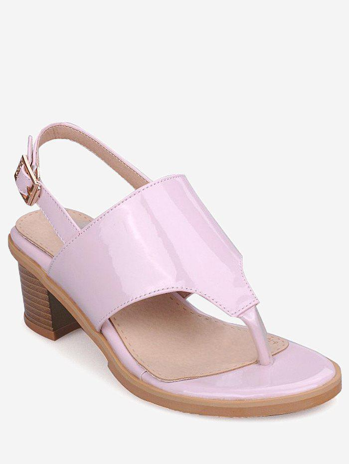 Outfit Plus Size Leisure Chunky Heel Buckled Thong Sandals