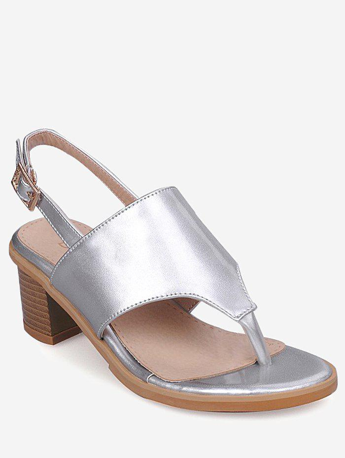 Latest Plus Size Leisure Chunky Heel Buckled Thong Sandals