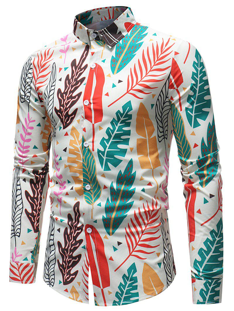 Latest Button Up Various Leaves Print Shirt