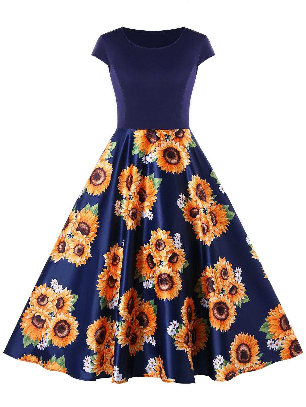 Outfit Sunflower Print Round Neck A Line Dress