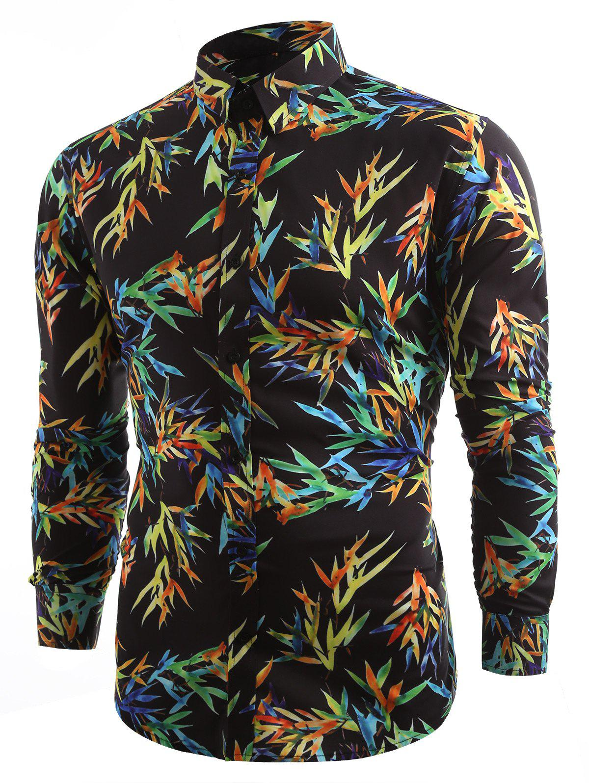 Unique Casual Allover Colorful Bamboo Leaf Printed Shirt