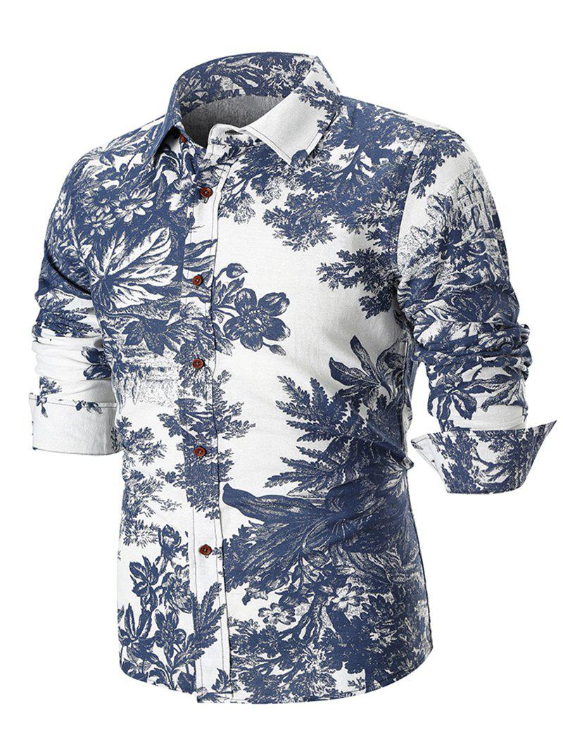 Discount Ethnic Style Flowers and Leaves Print Long Sleeve Shirt