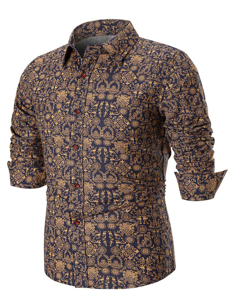 Hot Ancient Symbols Print Long Sleeve Casual Shirt