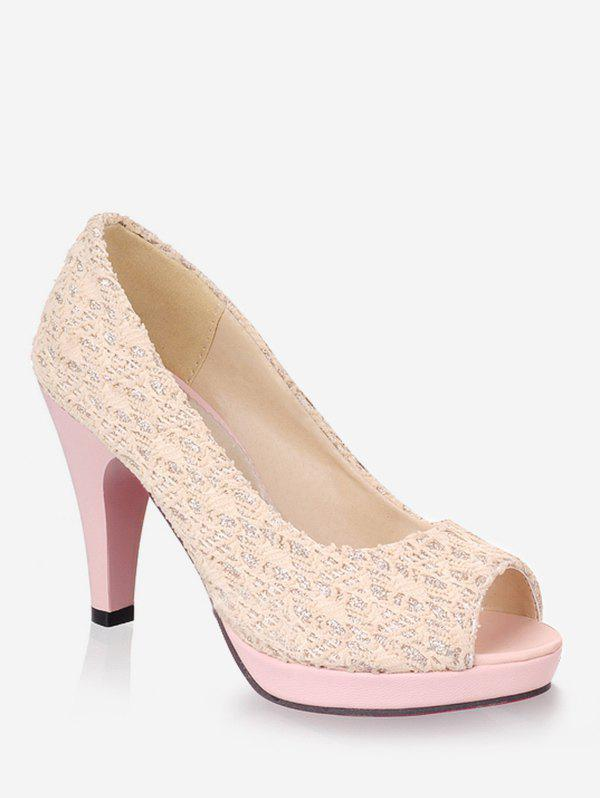 Outfit Plus Size High Heel Chic Peep Toe Prom Pumps