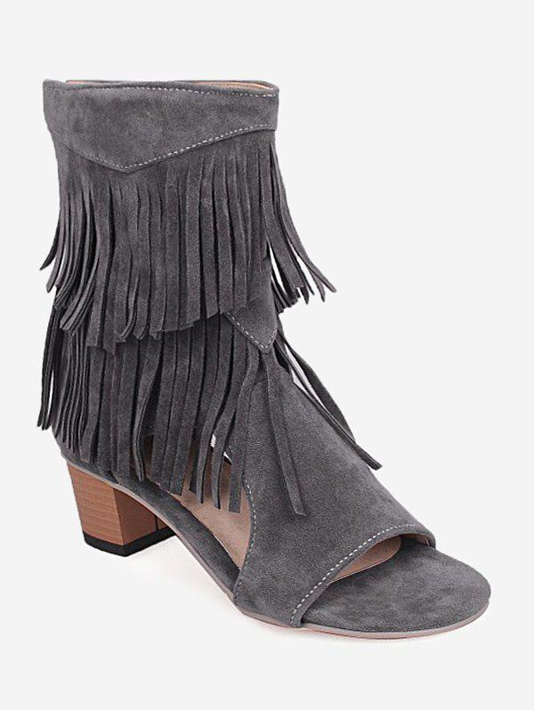 Fashion Plus Size Low Heel Hollow Out Fringe Decoration Sandals