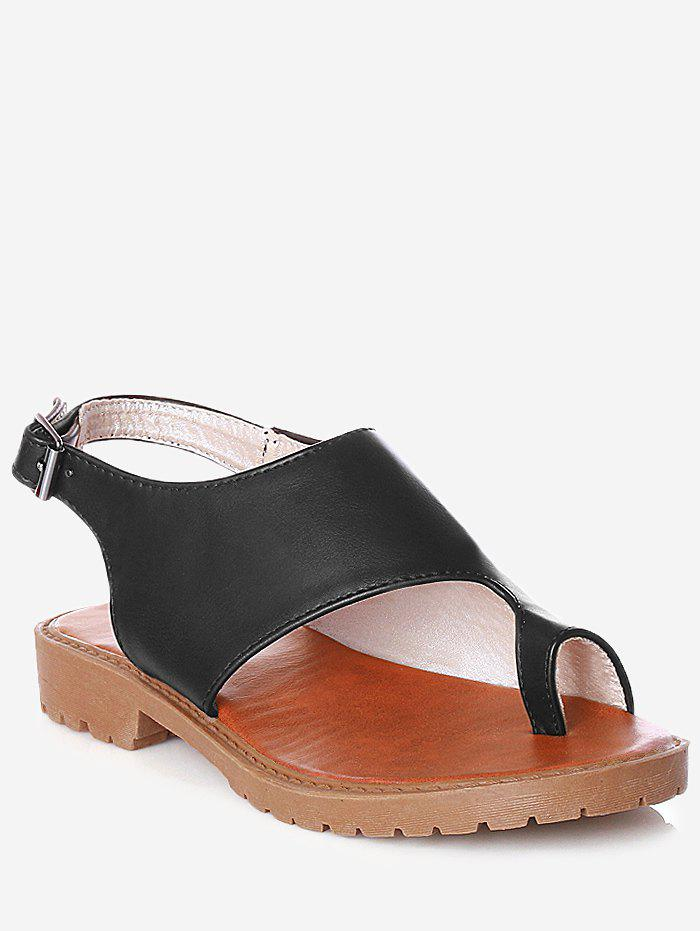 Cheap Plus Size Faux Leather Leisure Slingback Thong Sandals