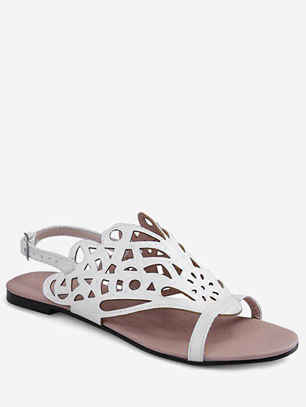 Cheap Plus Size Casual Hollow Out Flat Heel Slingback Sandals