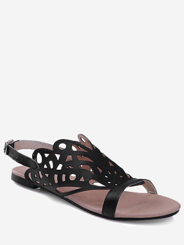 Chic Plus Size Casual Hollow Out Flat Heel Slingback Sandals