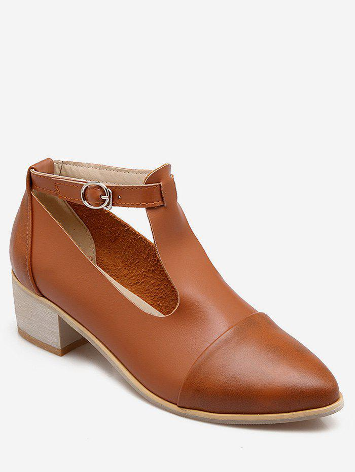 Fancy Plus Size Cut Out Block Heel Pointed Toe Ankle Boots