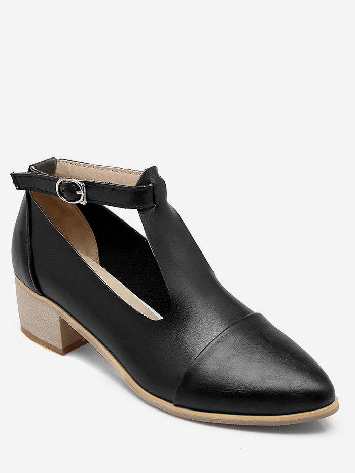 Discount Plus Size Cut Out Block Heel Pointed Toe Ankle Boots