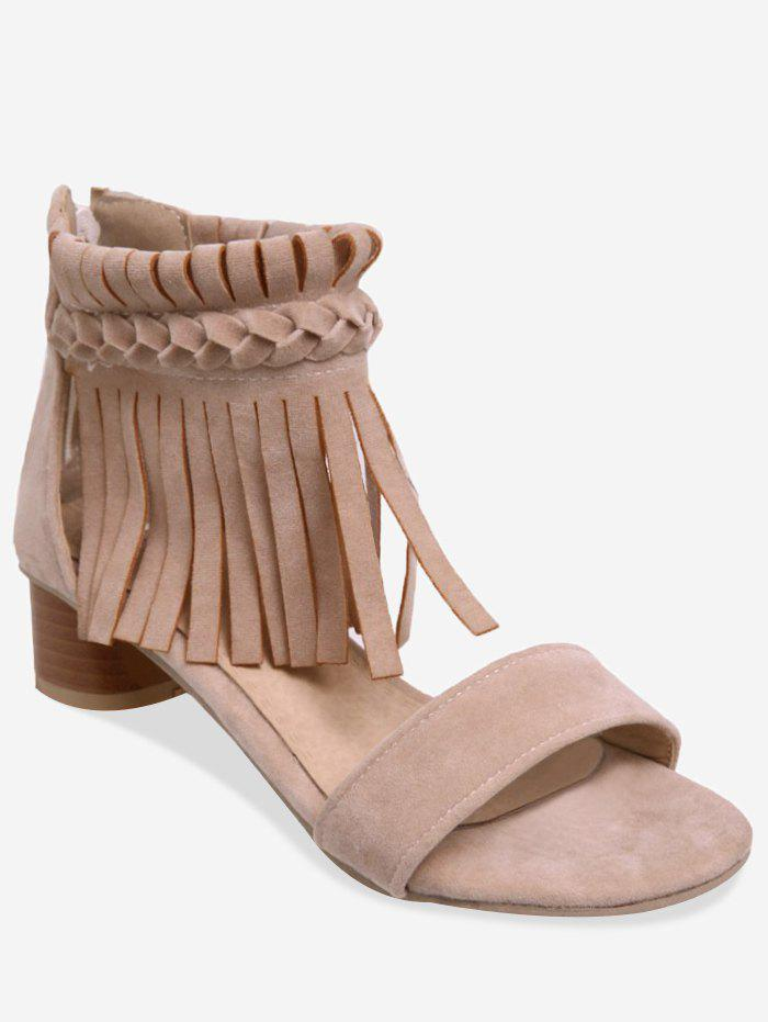 Unique Plus Size Block Heel Fringes Decoration Ankle Sandals