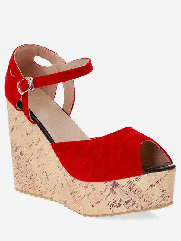 Affordable Plus Size Peep Toe Party Wedge Heel Sandals