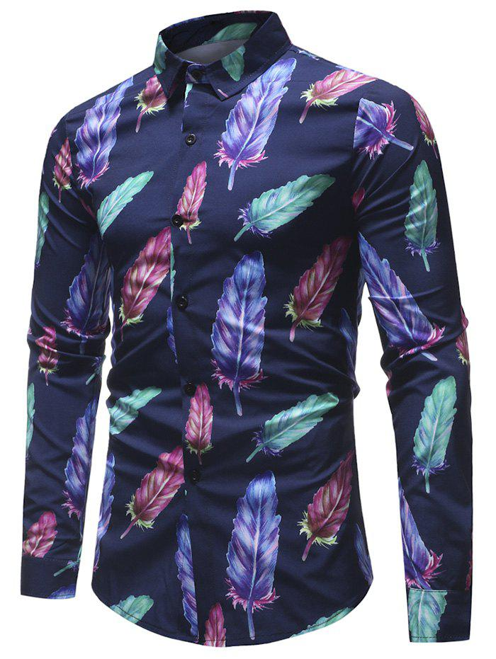 Shops Feather Printed Button Up Shirt
