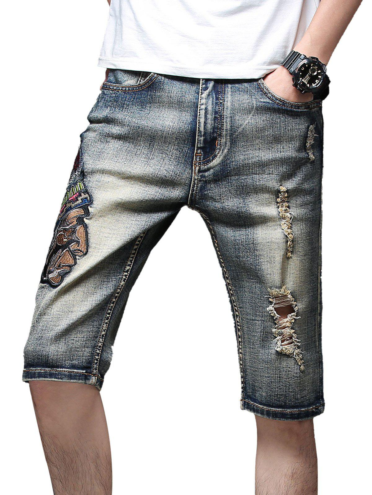 Cheap Vintage Indian Embroidery Torned Casual Denim Shorts