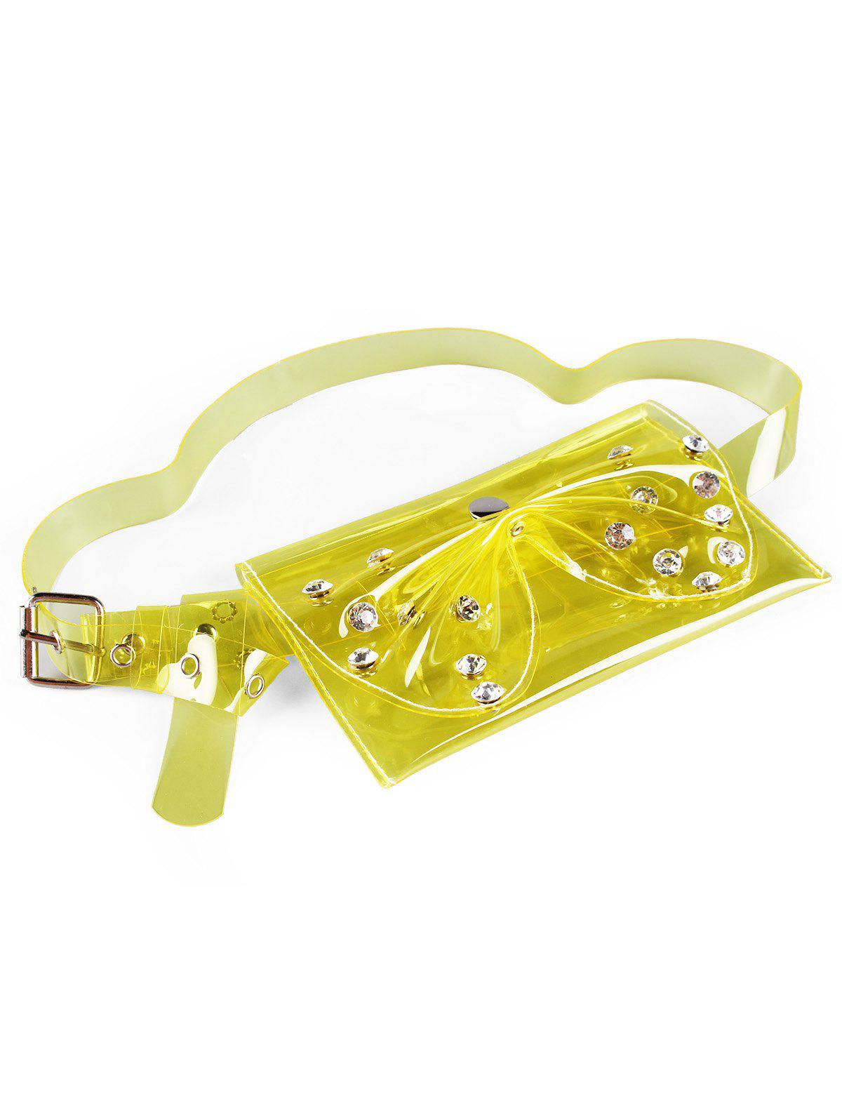 Buy Vintage Rhinestone Bowknot Jelly Color Fanny Pack Belt Bag