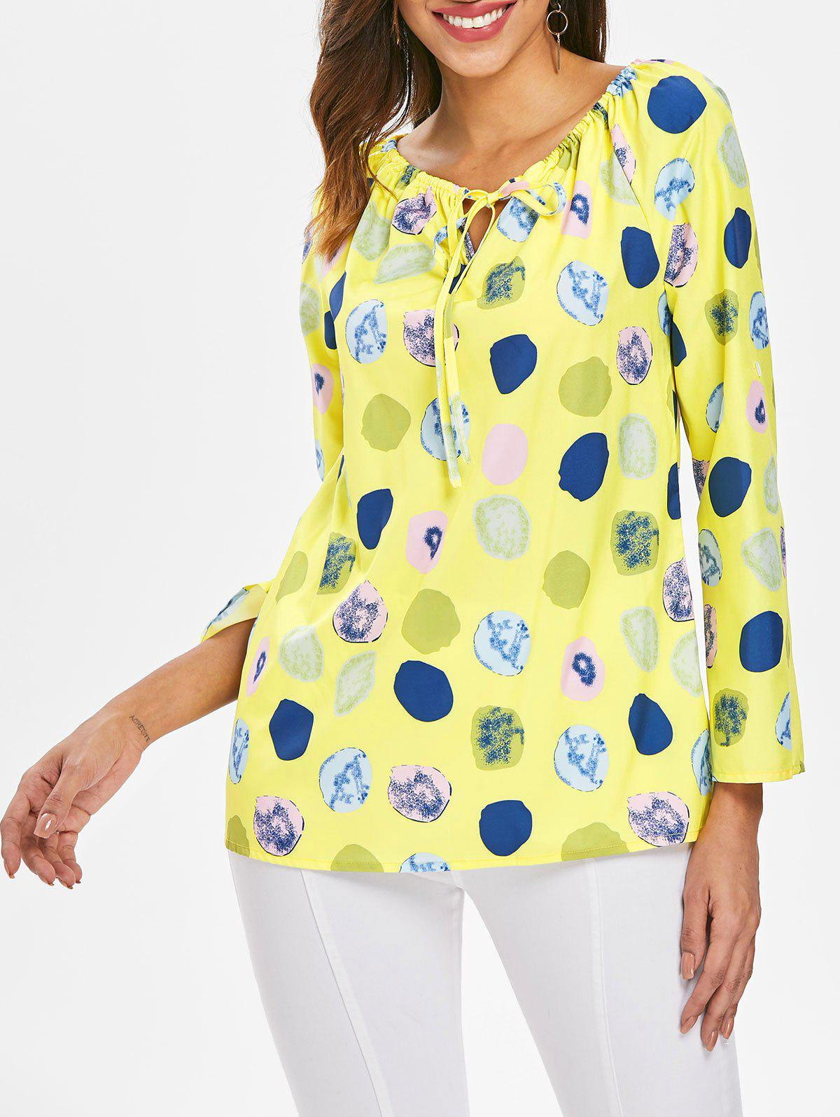 Online Long Sleeve Polka Dot Print Top