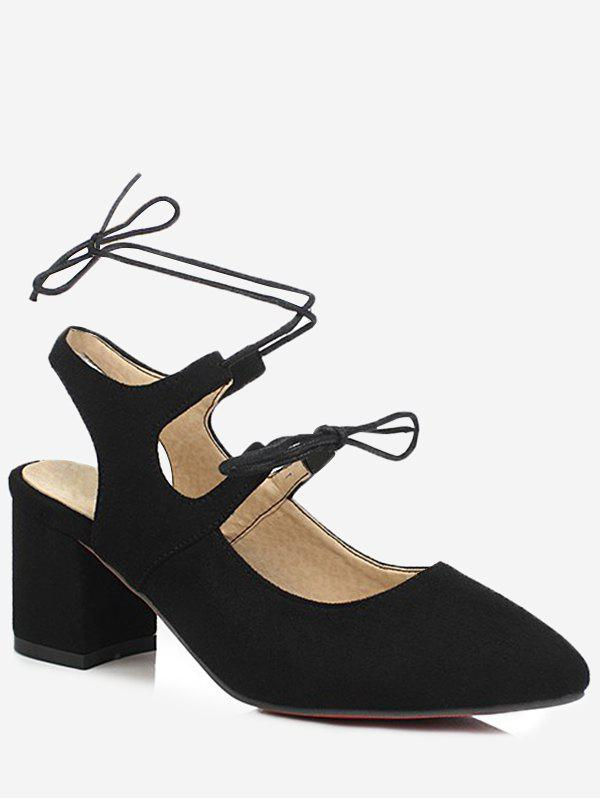 Fancy Plus Size Block Heel Chic Pointed Toe Lace Up Sandals