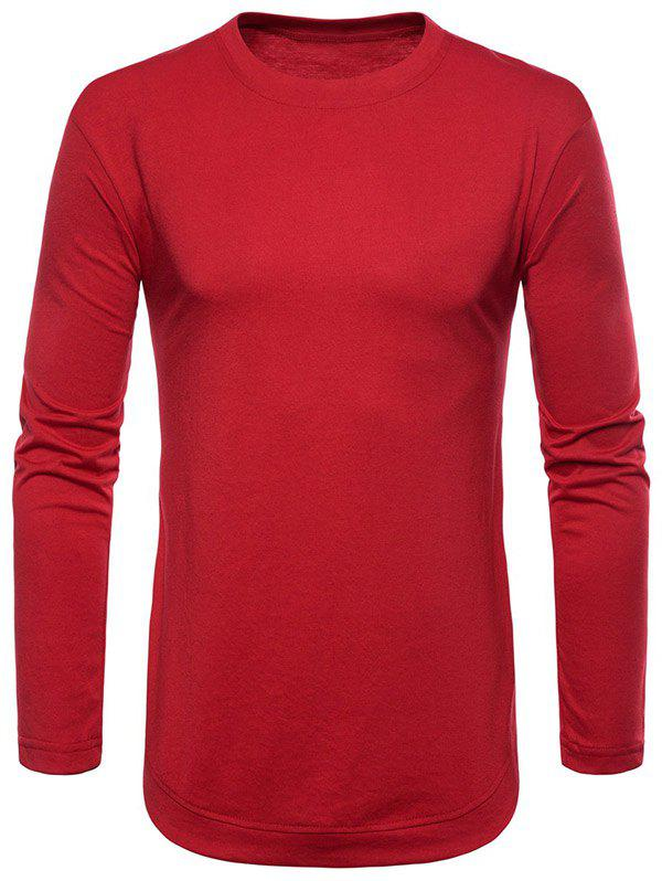 Fancy Curved Seam Hem Solid Color Long Sleeve T-Shirt