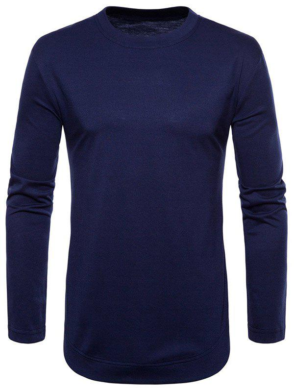 Unique Curved Seam Hem Solid Color Long Sleeve T-Shirt