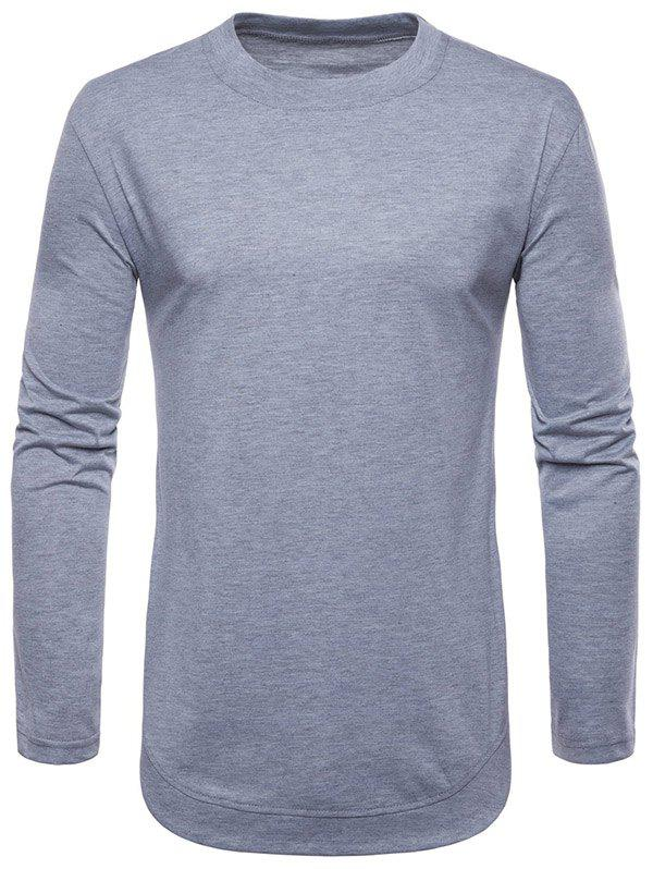 Outfit Curved Seam Hem Solid Color Long Sleeve T-Shirt