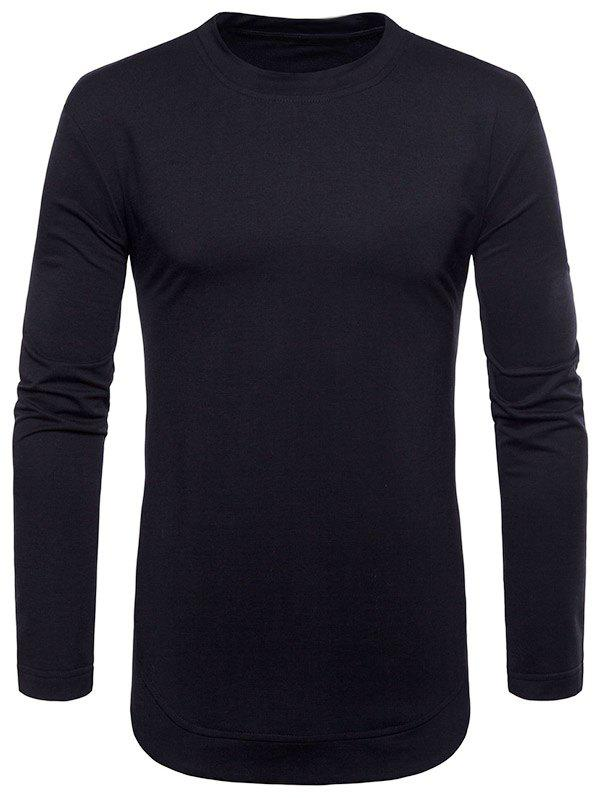 Latest Curved Seam Hem Solid Color Long Sleeve T-Shirt