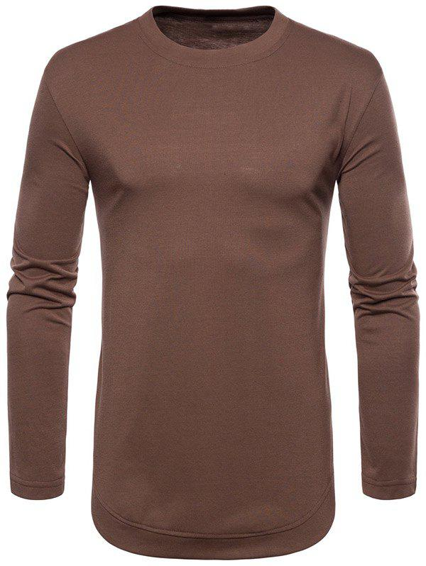 New Curved Seam Hem Solid Color Long Sleeve T-Shirt