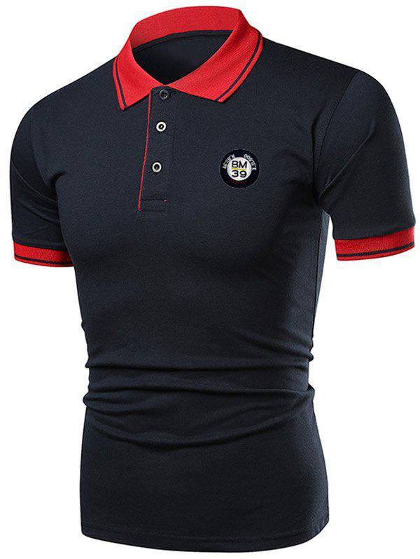 Latest Contrast Color Applique Short Sleeve Polo T-shirt