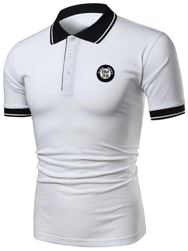 Fancy Contrast Color Applique Short Sleeve Polo T-shirt